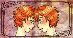 Fred and Georges Weasley by Clef-en-Or