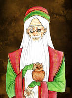 Dumbledore and an owl by Clef-en-Or