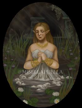 LoZ: Princess Zelda praying at the Spring of Power