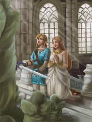 LoZ: Link and Zelda praying to Hylia