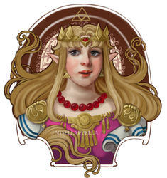 LoZ: Mucha-inspired Zelda