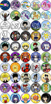 Over 100 Anime/Video Game Buttons: Part 2