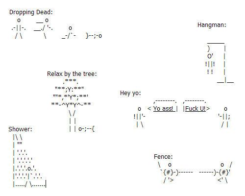 One Line Ascii Art Thumbs Up : Random ascii stick figures by akaiyuki on deviantart