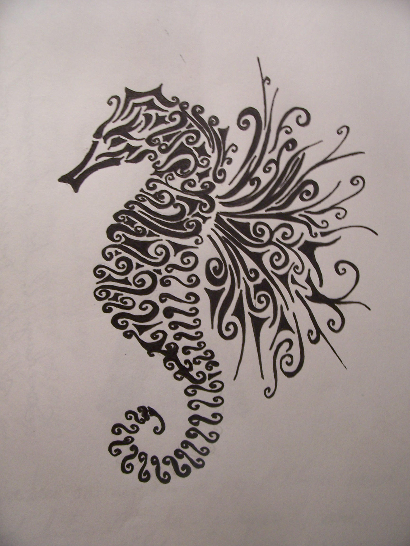 Seahorse by pyrochic127 on deviantart for Seahorse tattoo designs
