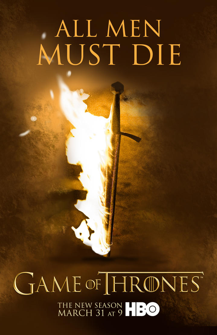 Game of Thrones Season 3 Flaming Sword Poster by Rewind-Me