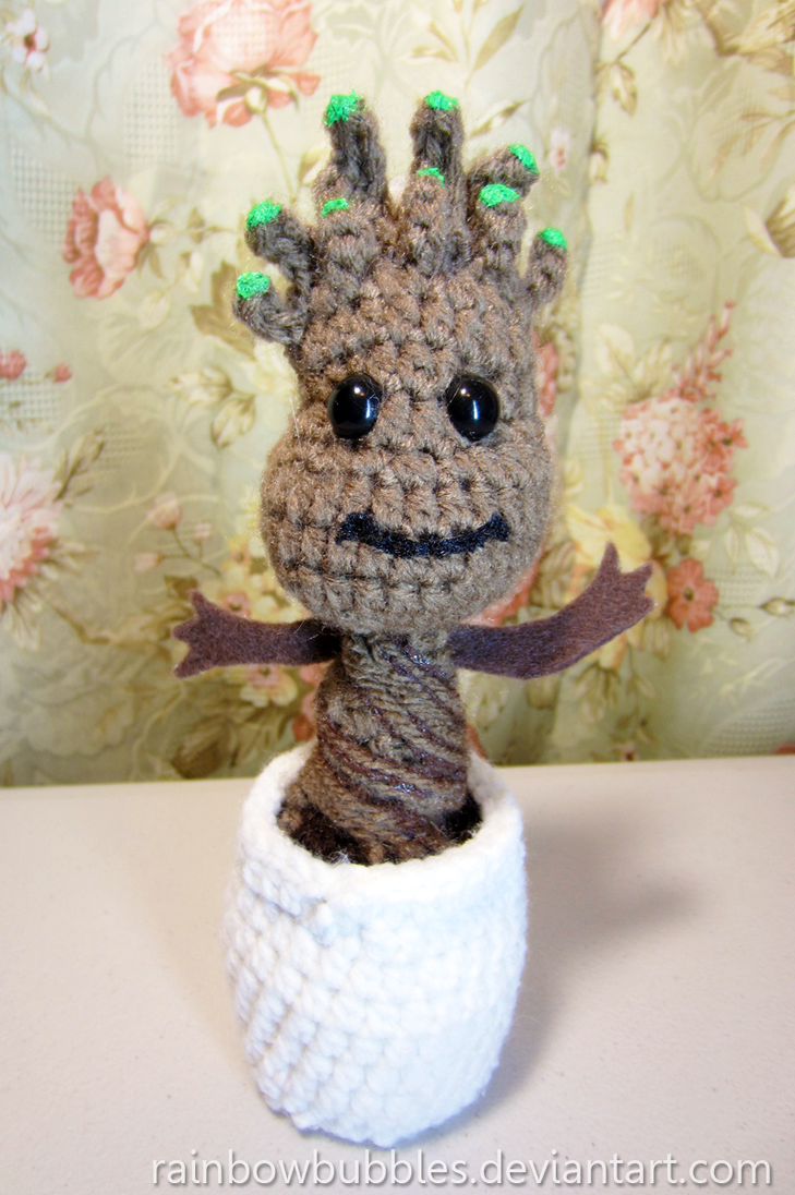 Commission:  Baby Groot amigurumi by Rainbowbubbles
