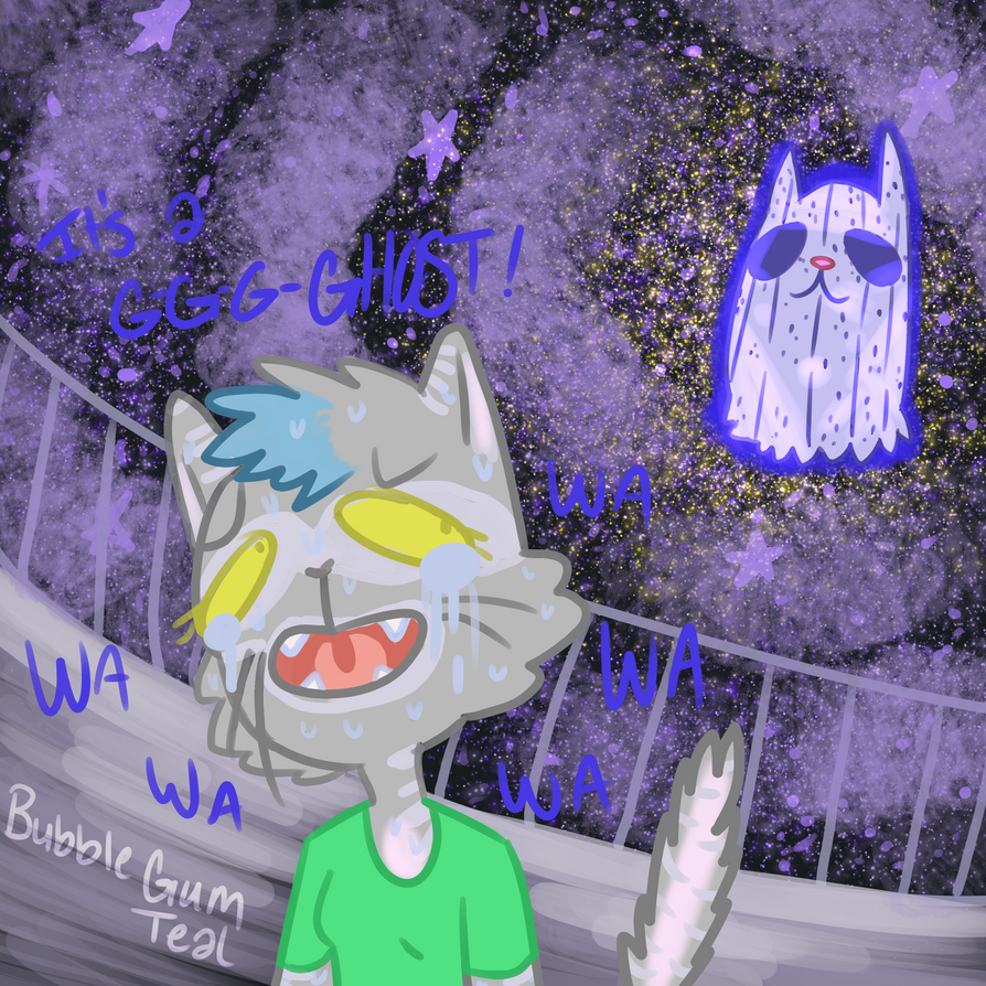 Reaction to ghost by Bubblegumteal