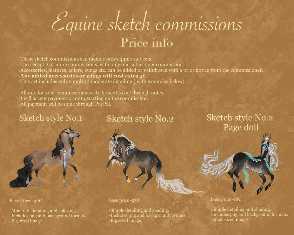 Equine sketch commissions- price info.