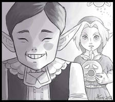 The Happy Mask Salesman - Black and White by Lady-Aura