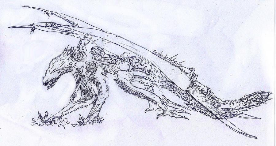 Monster 5 - kite sketch by Random223