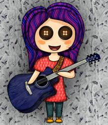 Guitar Girl by pen-it-black