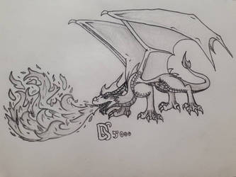 Fire breathing dragon by Dragonsoul5000