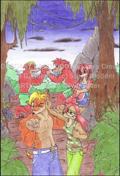 .Bandiger-kids play fighting.