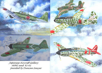 japanese aircraft montage by acrylicwildlife