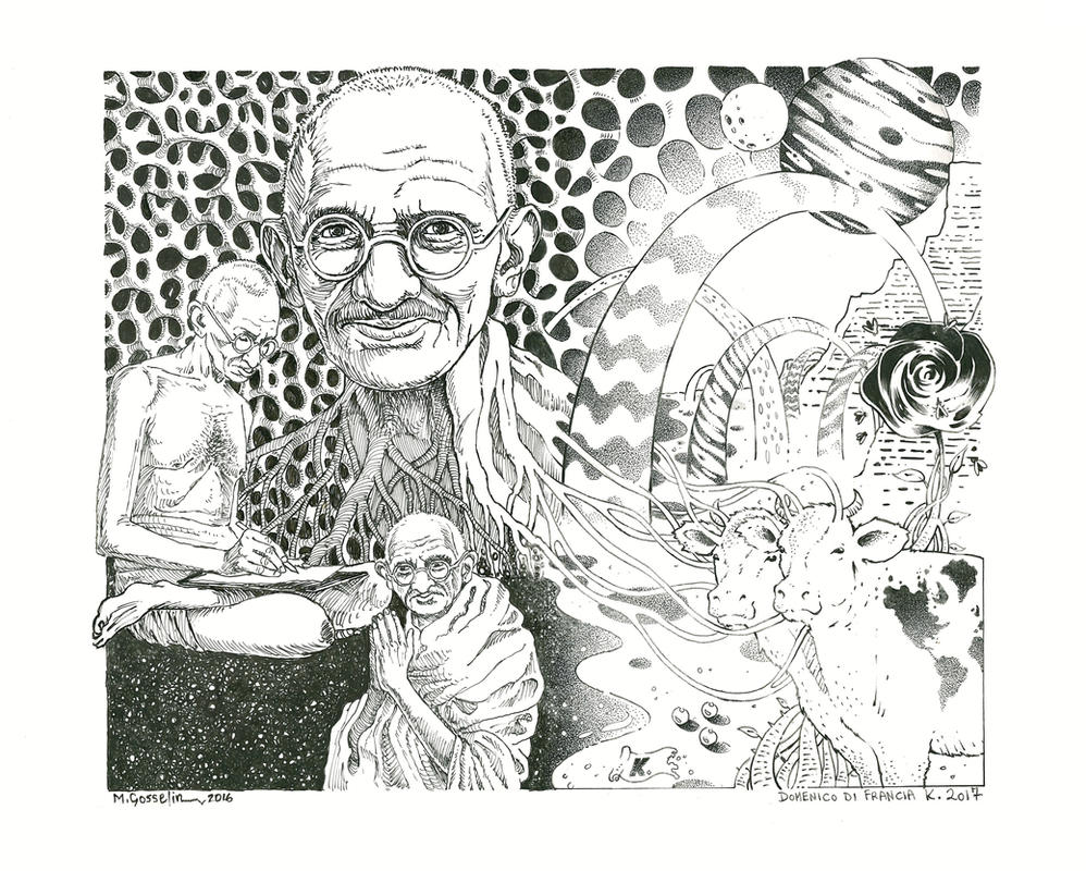 Gandhi In Wonderland by marcgosselin