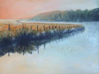Big Beaver Creek in morning mist by rollarius55