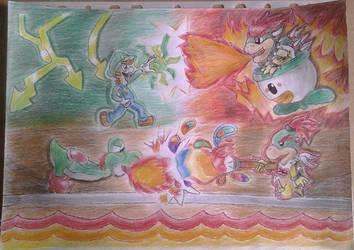 Luigi and Yoshi VS Bowser and Bowser jr. by BveanikaS