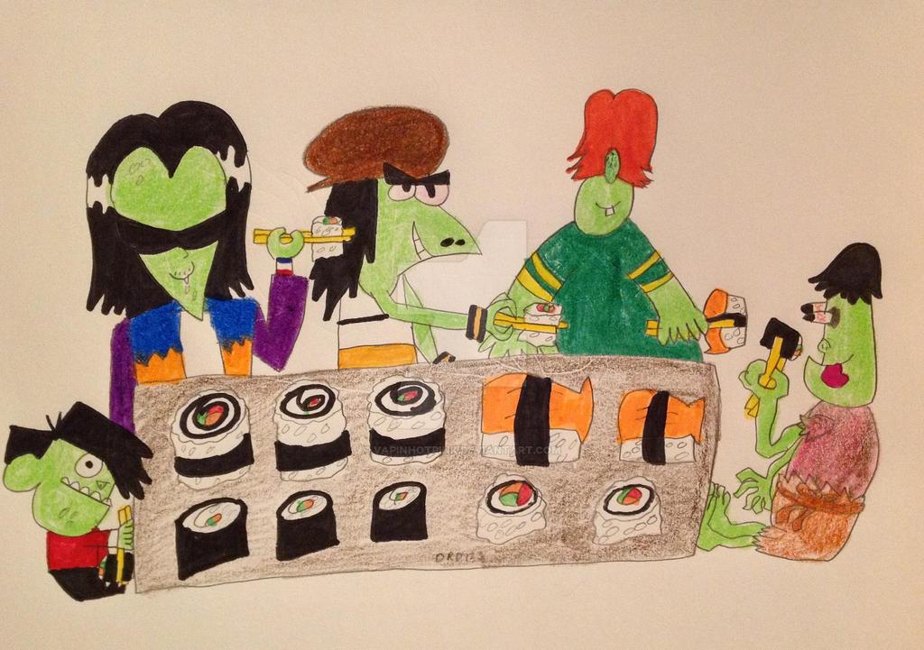 Gangreen Gang's sushi picnic by DarkRoseDiamond123