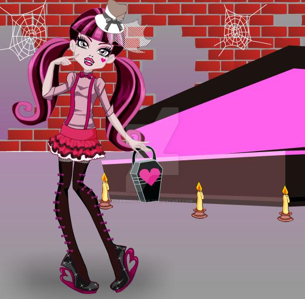 Goth Draculaura with coffin by DarkRoseDiamond123