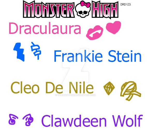 Monster High colors and symbols by DarkRoseDiamond123