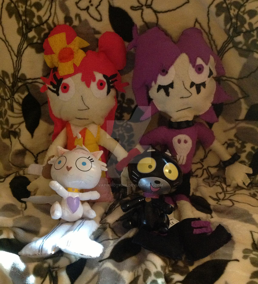 AmiYumi and cats plushies by DarkRoseDiamond123