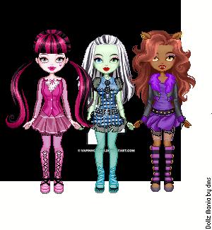 Monster High in their own colors by DarkRoseDiamond123