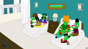 Gangreen Gang with fast food in a motel room