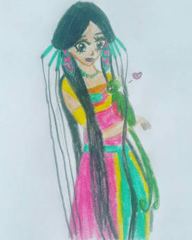 girl with quetzal