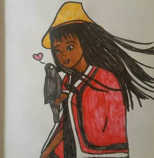 haida girl with raven