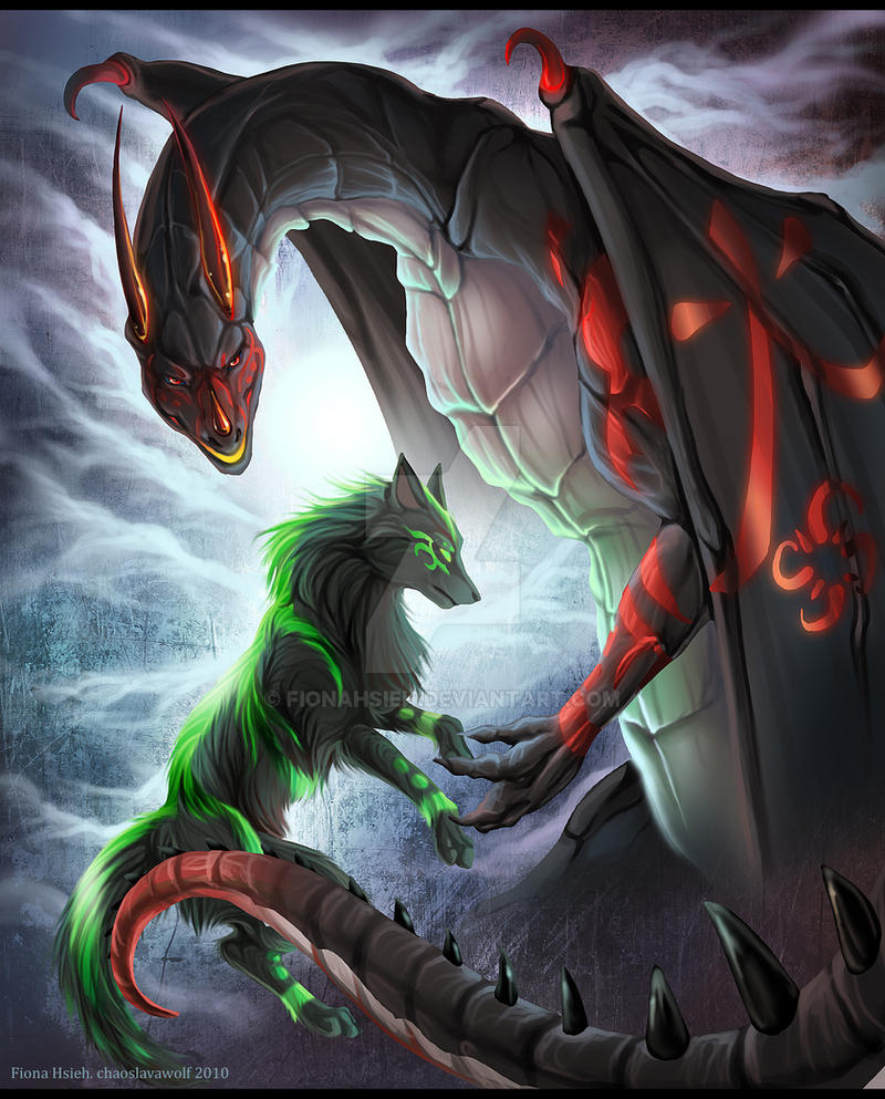 Dragon and Wolf: commission by FionaHsieh