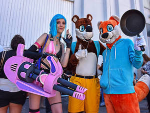 Conker, Banjo and Jinx cosplay