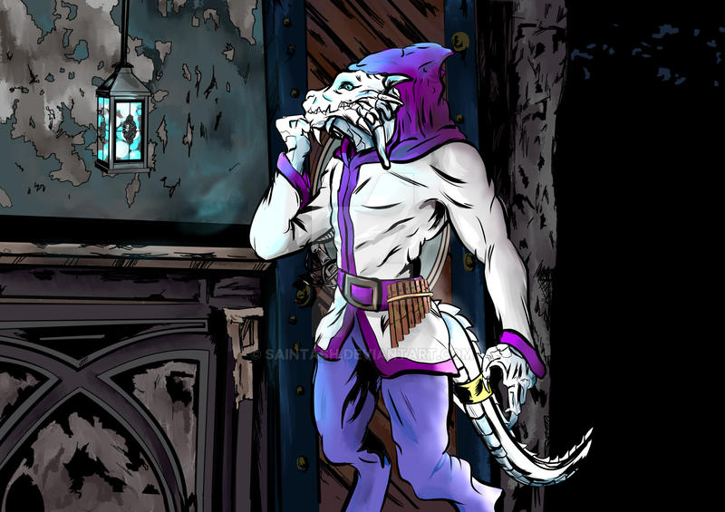 DnD commission: Dragonborn bard by SaintAsh