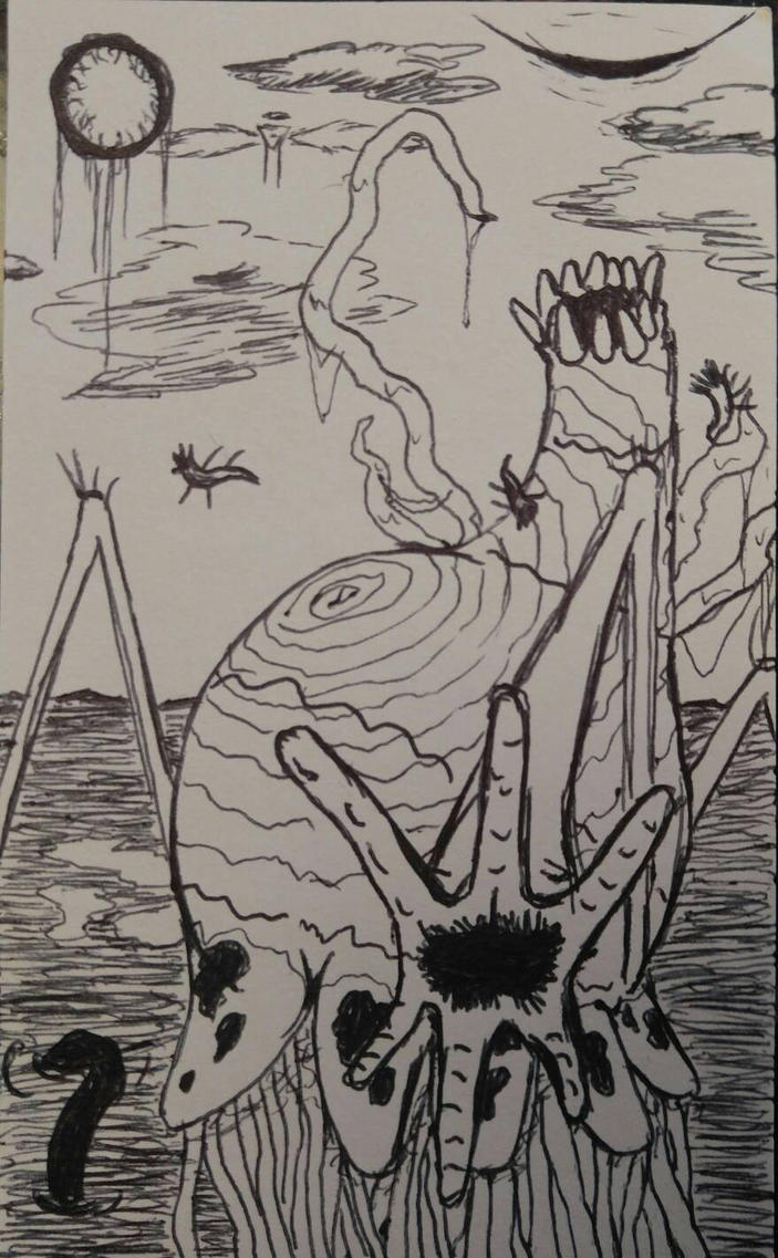Inktober Day 9 Realm of the Weird Gods by DustyMuffinsss