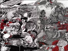 Final Night Double Page Spread WIP by CrimsonRedAllOver