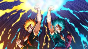 Bakugou and Deku Detroit Smash: Heroes Rising