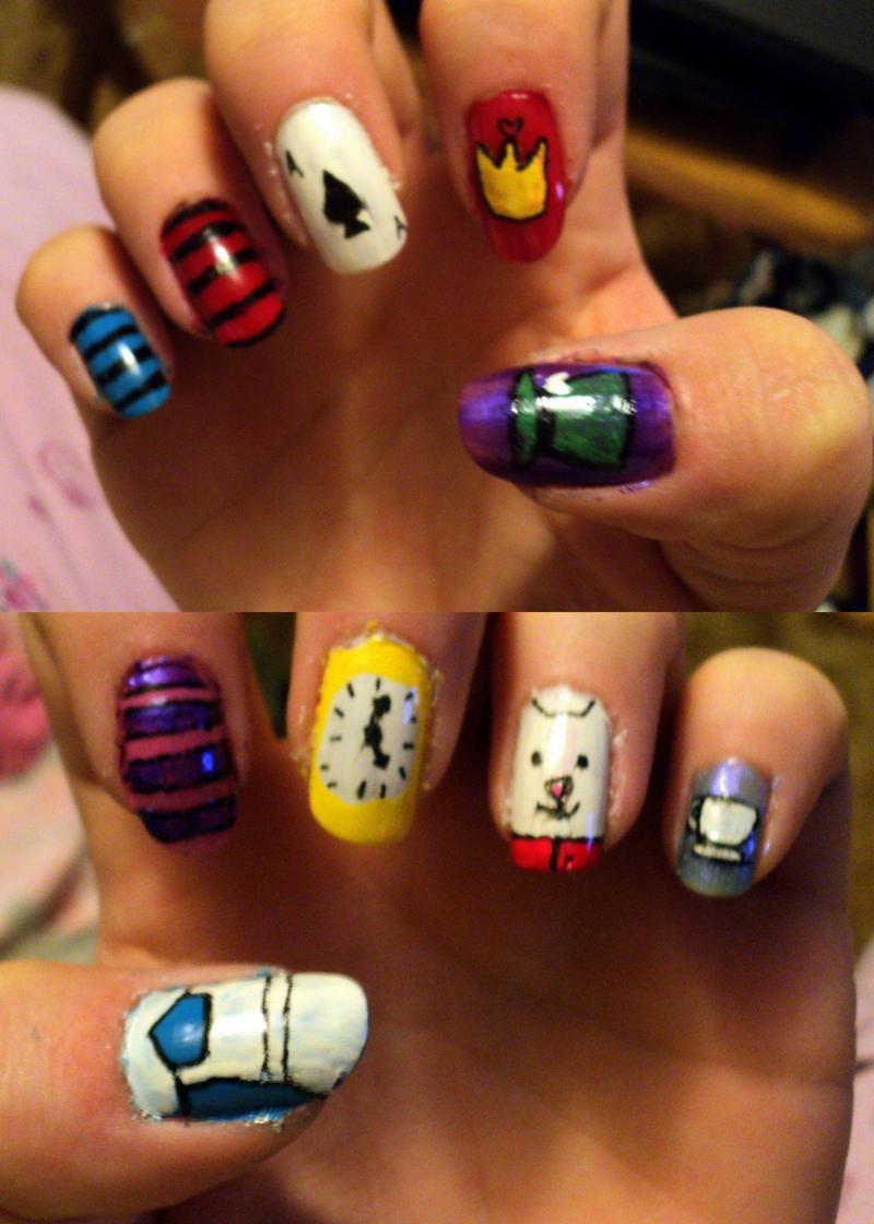 Alice in Wonderland Nails by loveless-yaoi-fan on DeviantArt