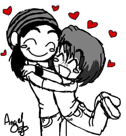 Chibis hugging - photo#11