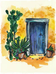 Blue door with cactus