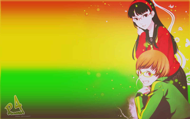 chie satonaka and yukiko amagi wallpaper by meikiyu on