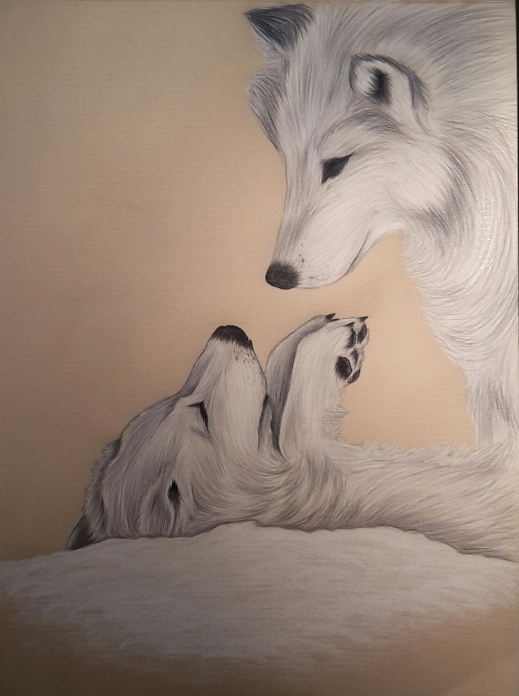 Wolves (watercolour pencils on brown paper) by AurorynDragon