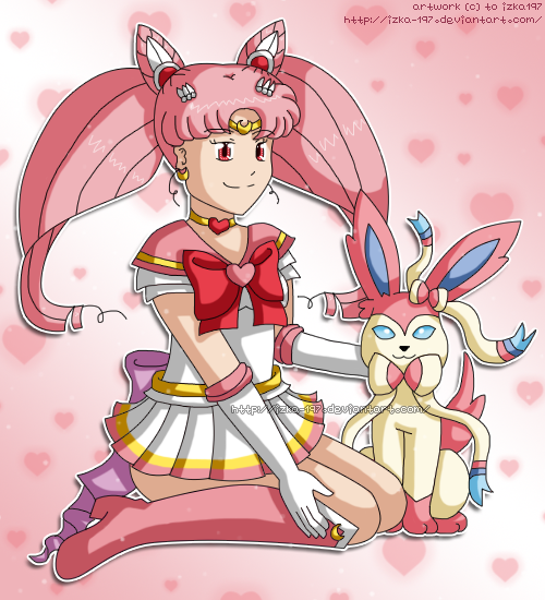 Sailor Moon and Pokemon: Chibi Moon and Sylveon by izka-197