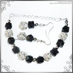 Hand Made Silver Black Bracelet Earrings Set by izka-197