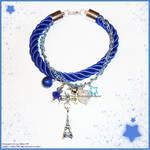 Hand Made Blue Eiffel Tower Charm Bracelet