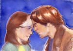 Rogue and Gambit watercolor