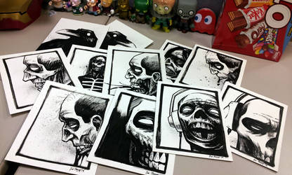 ink sketches i gave to coworkers for halloween