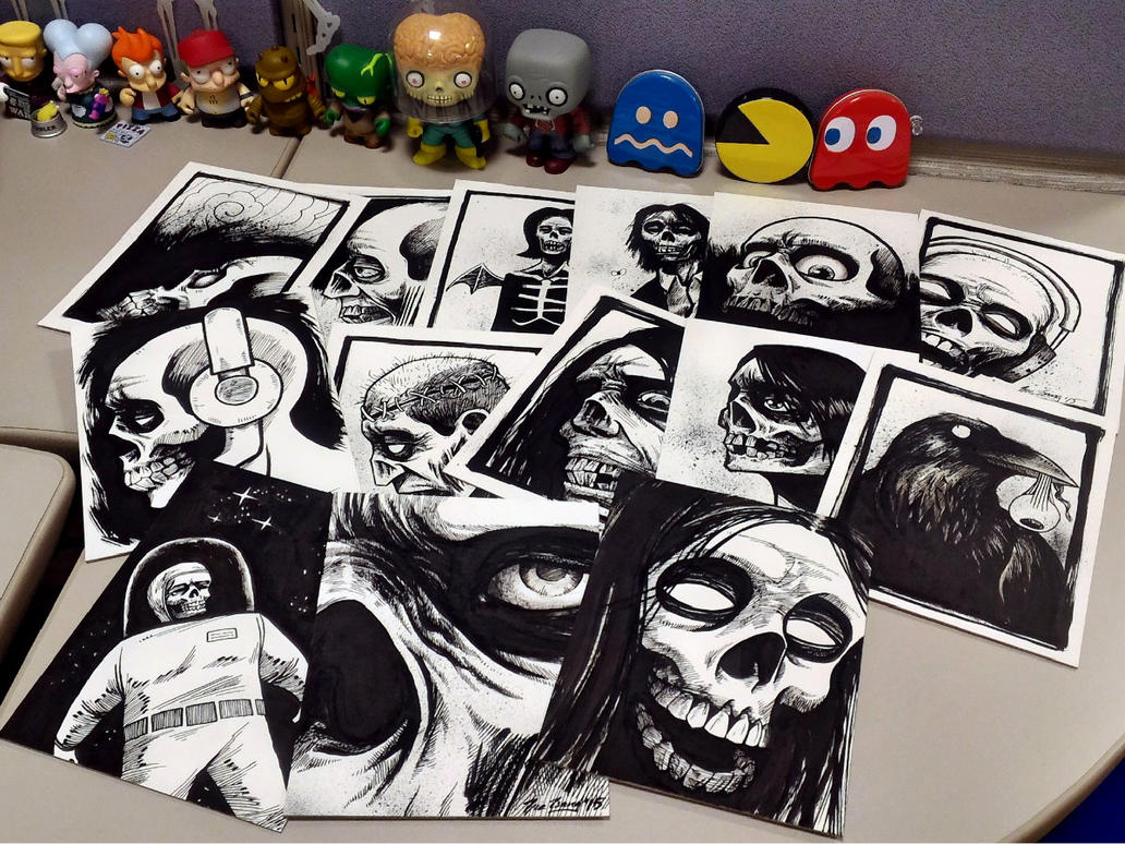 giving away halloween sketches to coworkers by cadaverperception