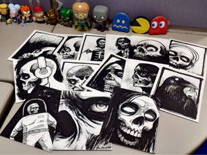 giving away halloween sketches to coworkers