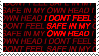 i don't feel safe in my own head stamp