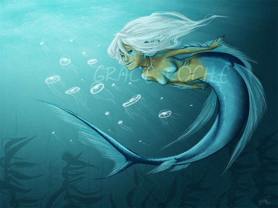 Kamari and Jellyfish - Patreon Milestone Wallpaper by CaptainMoony
