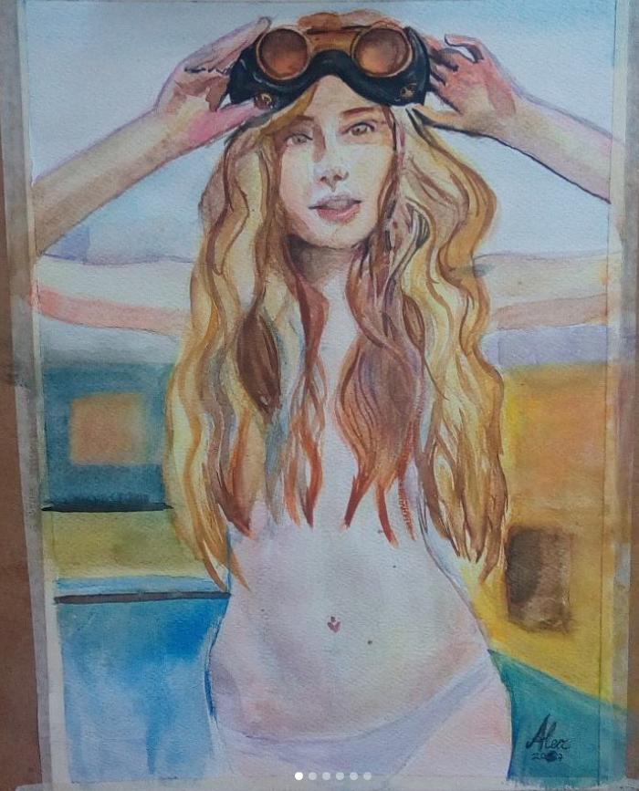 Girl 2 in watercolour by Alexxa16